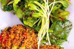 Quinoa burgers and fresh greens at vegetarian restaurant Juice and Java in Boca Raton.