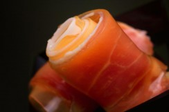 Prosciutto and cantaloupe prepared in molecular cooking style in South Florida.