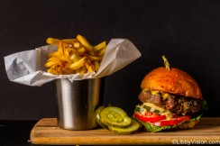 Gorgeous picture of gourmet burger and fries