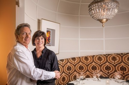 "Bobby and Laura Shapiro, owners of La Ferme in west Boca Raton pose for a portrait in their restaurant. ""It's a very beautiful restaurant,"" Bobby Shapiro said. ""People love the beauty."""