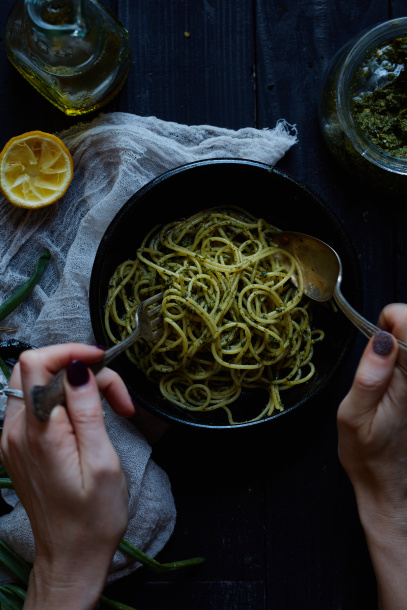 Nettle Pesto Pasta recipe food photography Libby Vision South Florida